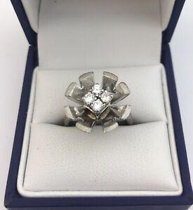 MODERN TEXTURED 18CT WHITE GOLD & DIAMOND DAISY RING UK SIZE L1/2 EDINBURGH 1995