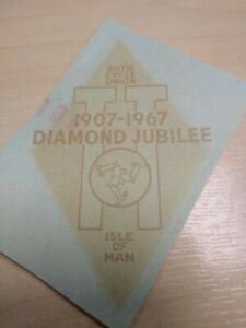 Isle of Man TT Diamond Jubilee 1907 - 1967 - Original NOS Water Transfer Sticker
