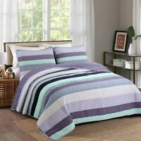 Safira Striped Purple 100%Cotton 3-Piece Quilt Set, Bedspread, Coverlet