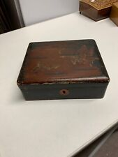 Worn Wooden Box With Butterflies On Lid 7 Inch By 6 Inch