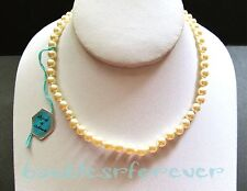 """VtG New Old Stock Czech Bohemian Glass Pearls Hand Knotted Single Strand 15"""""""