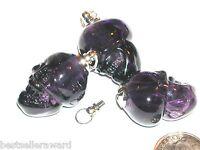1pc.Glass Skull BOTTLE Potion perfume sm pendant Amethyst Purple Screw top
