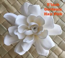 "3"" Foam GARDENIA Flower Wedding Bridal Prom Party Dance Hair PICK WHITE"
