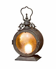 Metal Round Hanging Candle Lantern, Curved Glass Insert