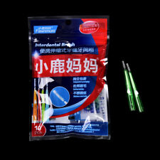 10x Push-pull Interdental Brush Orthodontic Dental Cleaning Brushes Toothpick BD Green(1.0mm)