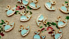 Whale pale blue charms 6 gold pendant charm jewellery supplies C715