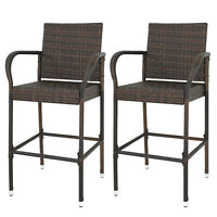 Wicker Bar Stool Rattan Chair Furniture Chair Outdoor Backyard  Set of 2 Patio