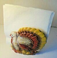 Vintage Thanksgiving Turkey Glazed Ceramic Napkin Holder Holiday colorful