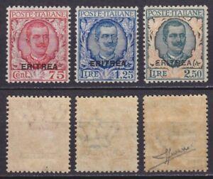 Colonie Eritrea 1926 Floreale n.113-115 nuovi MNH** gomma integra firma Sorani