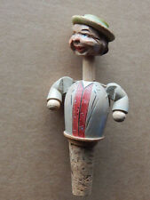 Vintage Anri Carved Wood Bottle Stopper Mechanical Man with Moving Head and Arms