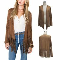 Womens Fashion Brown/Coffee Tasseled Fringe/Fringing Cardigan Jacket/Coat, BNWT