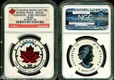 2015 $5 CANADA SILVER MAPLE LEAF NGC PF69 ER REVERSE PROOF INCUSE ENAMELED 1 OZ