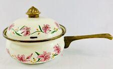 Normandy Vintage Cookware Enamel Pot  Pan White Floral Brass Handle Lid Knob