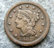 UNITED STATES 1852 ONE CENT, LIBERTY HEAD - BRAIDED HAIR, BETTER GRADE