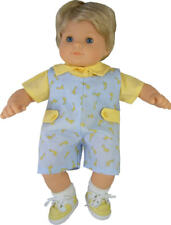 Light Blue Giraffe Romper 2 Piece Set made for Bitty Baby Boy Twin Doll Clothes