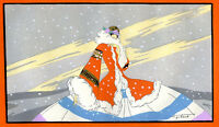 1930s French Pochoir Artdeco Print Robert Polack Fashion Long Dress Red Coat (L)