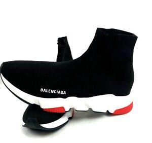 Balenciaga Speed LT Sneaker Knit Sole TriColor Black White/Red/Black USA Size 10