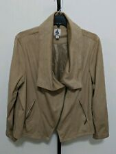 Dressbarn Plus Faux Suede Zip Jacket Blazer Beige Size 3X NEW