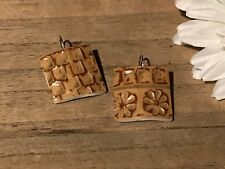 Recycled Porcelain Jewelry, Asian Collection, Floral Stoneware Earrings
