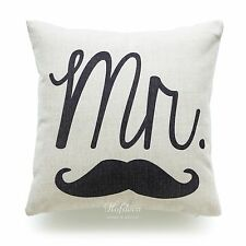 """Hofdeco Pillow Case His and Her Love Wedding Valentine Day Gift Cushion Cover 18 Black Mr 18""""x18"""""""