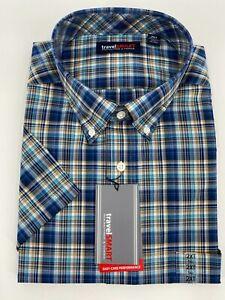 Travel Smart Men's Dress Shirt Size 2XT Blue Plaid Button Up Roundtree Yorke New
