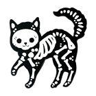 Black Cat Skeleton Enamel Pin Skull Gothic Punk Horror Halloween Animal Gift
