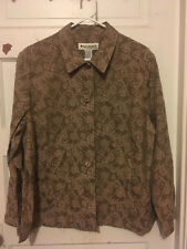 *NWOT* APPLESEED'S Tan Brocade Heavy Button Down Big Shirt Jacket - Size 20M