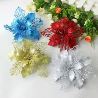10X Christmas Large 16cm Poinsettia Glitter Flower Tree Hanging Party Decoration