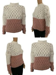 NEW Womens Knitted Jumper Dress Ladies Long Sweater Free Size 10 12 14 16 2 Tone
