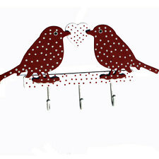 Rojo Amor Aves Ganchos Con Colores Lunares Corazón, De Madera, 3 ganchos de metal sólido