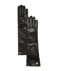 MAX MARA, Afide 100% LEATHER Gloves in Black , Size 7,5 (M)