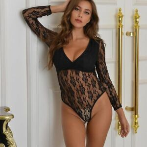Sexy Jumpsuits Women Deep V Sheer Bodysuits Transparent Long Sleeves Laces Women