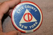 Original 1951 d. Erie County New York State Civil Defense Member's # ID Button