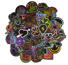 50Pcs Neon Light Signs Waterproof Stickers for DIY Skateboard Laptop Luggage