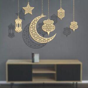 Wooden Eid Mubarak Pendant Hollow Decoration Ramadan Woods Hanging Accessories