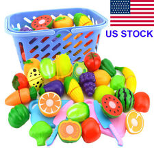Kids Baby Fruit Role Play Fruit Food Cutting Set Reusable New Pretend Toys US