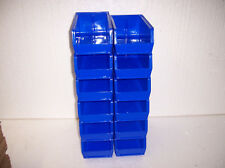 PLASTIC STORAGE BINS NEW 7 1/2 x 4 x 3. LOT OF 12 BLUE UL12414.B