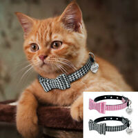 Personalised Leather Padded Pet Cat Dog Bow Tie Collar with Name ID Tag & Bell