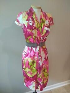 NWT $325  ETCETERA FUCHSIA PINK FLORAL DRESS OPTIONAL BELT sizes 2 4 6 8 10