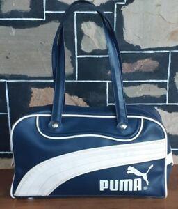 Bowling bag by 'Puma', leather, navy/cream, 21cm x 32cm x 11cm