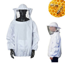 Beekeeping Protective Jacket Veil Hat Pull Smock Equipment White Dress Suit NEW