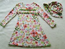BABY NAY PINK TANGERINE Floral Dress Hat 4X 4 5 XXS Pink Green Orange Retro Lulu