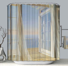 Breezy Ocean Balcony View Fabric Shower Curtain 70x70 Door Window Sunset Sky