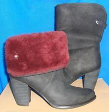 UGG Australia LAYNA Black Suede Sheepskin Ankle Boots Size US 6.5 NEW #1005955
