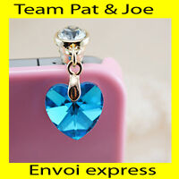 BIJOU CACHE POUSSIERE telephone portable pour PRISE JACK style Diamant  Bleu