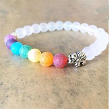 7Chakra Elephant Charm Beaded Bracelet Mala Beads Yoga Energy Bracelet Jewelry H