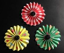 Fan Flowers -  -patterned paper/black bling centre
