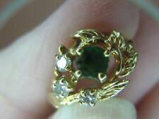 ESTATE 10K VINTAGE EMERALD GREEN TOURMALINE & Genuine DIAMOND Ring