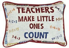 TEACHERS Make Little Ones COUNT Throw Pillow 9x12 Made In USA Crayons New