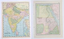 India Egypt Arabia - Beautiful Vintage Original 1893 Antique World Atlas Maps